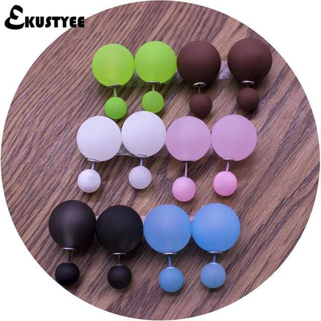 6 Pairs/lot Double Sided Earrings Wholesale Fashion Pendiente Brinco 16mm/8mm Double Pearl Earrings in Jewelry for Women
