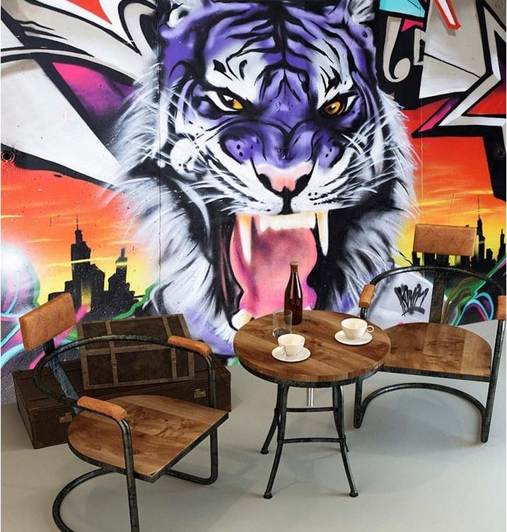 Large Mural Wallpaper Living Room Sofa Backdrop Bar Ktv Club Modern Style Wallpaper Painted Graffiti Cool Ferocious Tiger In Wallpapers From Home