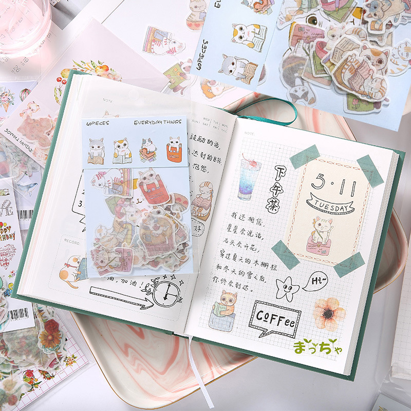 Mohamm Creative Fresh Cute Sticker Pack Kawaii Stationery Stickers Scrapbooking Flower Food Diary Stickers