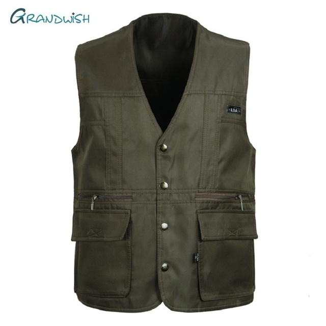 Grandwish Men Vests Sleeveless Unloading Fashion Waistcoat With Many Pockets Male Military Jacket Mens Solid Tactical Vest,DA754