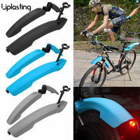 Liplasting 1 Pair Bicycle Mudguard With LED Taillight MTB Mountain 26 inch Bike Mud Wings Front + Rear Wheel Fender