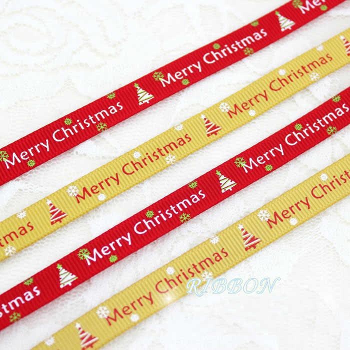 10mm חג המולד מכתב מודפס מבהיקי סרטי 2 Meters/Lots חג המולד מסיבת יום הולדת מתנת גלישת סוכריות קופסא אריזת סרטים