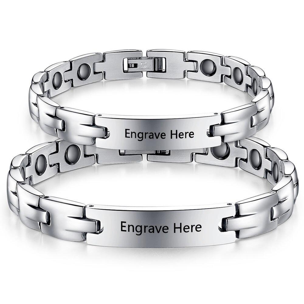 2pcs Personalized Stainless Steel Couple Bracelet Bangle Titanium Men Jewelry Husband Birthday Gift Free Shipping Ba101442