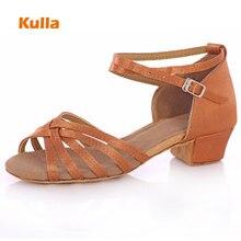 KULLA Ballroom Salsa Tango Latin Dance Shoes Low Heels Dancing For Kids Girls Children Women Ladies Zapatos De Baile Latino L40