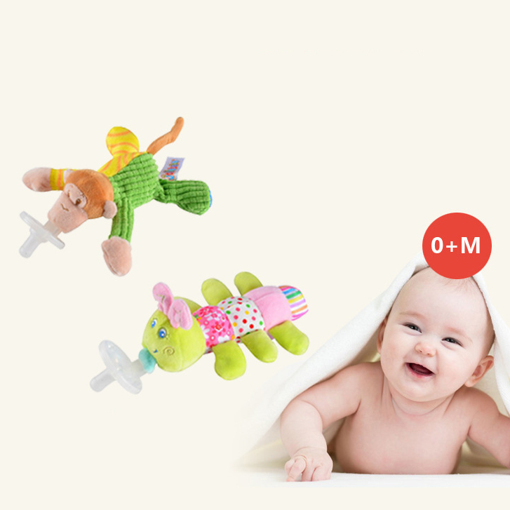 Cute Baby Pacifier Plush Toy  Infant Cartoon Animal Doll 0-12 Months Feeding Accessories