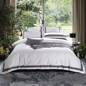 TUTUBIRD-Luxury Satin Egyptian Cotton Bedding Set Solid Color Striped Plaid Duvet Cover+Flat Sheet+2 Pillowcases King Queen Size