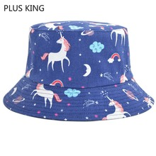 Horse Printed Bucket Hat Men Women Harajuku Hip Hop Hats Bonnet Fishing Blue Black