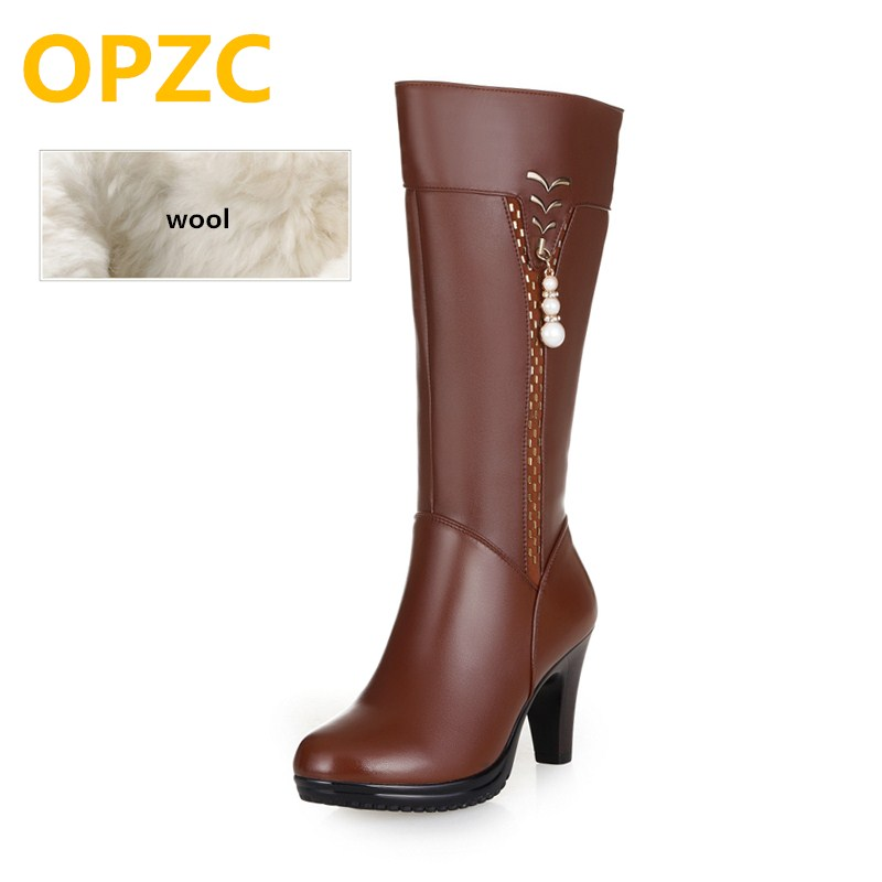 Botas de tacón alto de cuero genuino de 2019 mujeres de invierno, botas forradas de lana, botas de motos de alta calidad de moda, envío gratis