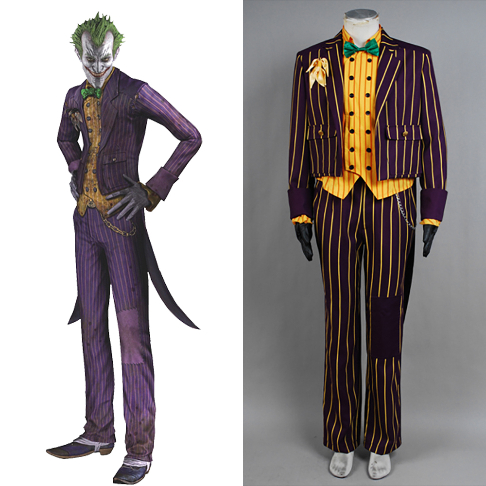 Batman Cosplay Arkham Asylum Joker Cosplay Costume Purple Coat Suit Adult Men Halloween Party Costume