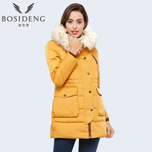 BOSIDENG Women's High Quality Winter Jacket Solid Color Coatfur Collar Hooded Windproof Parka B1401108