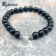 ad5f991c7b9b Ruberthen negro Onyx de los hombres Yoga pulsera chakra curación cristales  joyería Piedra Natural hombres pulsera equilibrio emo.