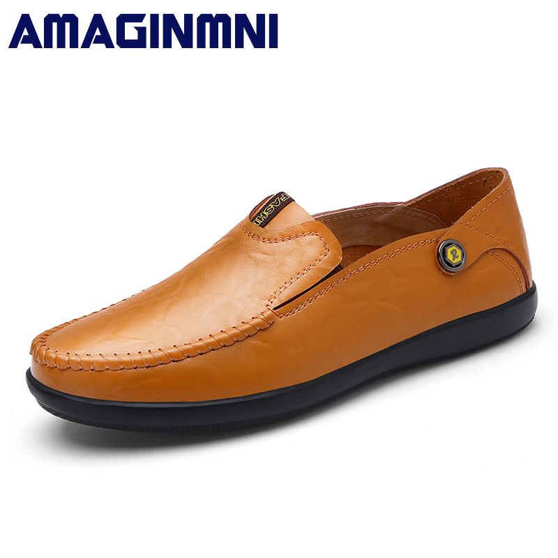AMAGINMNI big size 37-46 slip on casual men loafers spring and autumn mens moccasins shoes genuine leather men's flats shoes men s casual shoes loafers spring autumn slip on loafers men black mens shoes casual mens loafers rivet big size 46 47 48 socks