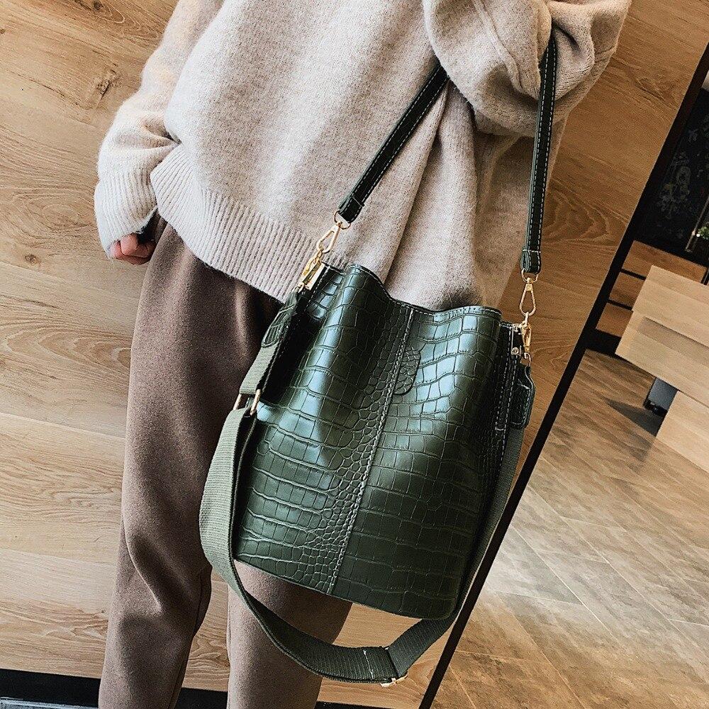Crossbody-Bags Bucket-Bags Purses Fashion Handbags Stone-Pattern Vintage Women Zipper