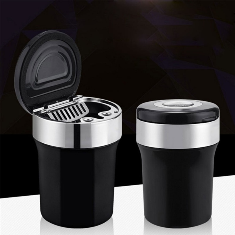 Color : A Smoke Ash Cylinder Multifunction Storage Cup Holder Interior Accessories LED Car Ashtray With Compass Cigar Ash Tray