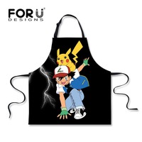 FORUDESIGNS Funny Pokemon Kitchen Apron Cartoon Pikachu Aprons For Dinner Party Cooking Aporn Cozinha Tablier Cuisine