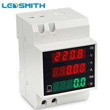 AC80 300V 0 100.0A Su Guida Din LED Voltmetro Amperometro Rosso Verde del Display Tensione Contatore di Energia Attiva del Fattore di Potenza Volt Misuratore di Corrente