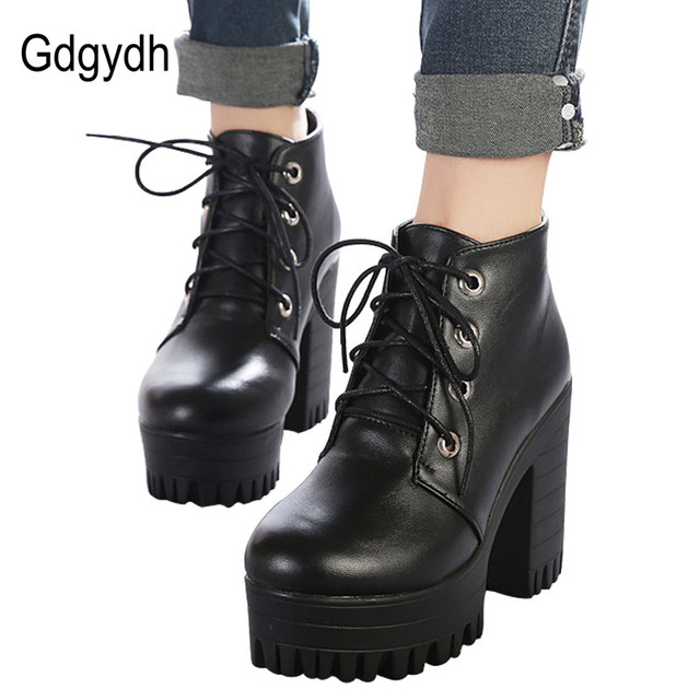 832a41e96d0 Gdgydh Brand Designers 2018 New Spring Autumn Women Shoes Black High Heels  Boots Lacing Platform Ankle Boots Chunky Size 35-39 free shipping worldwide