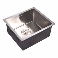 Single Kitchen Sink 500 400mm Food Grade Stainless Steel Surface Brushed Prevent Odor Jam Water