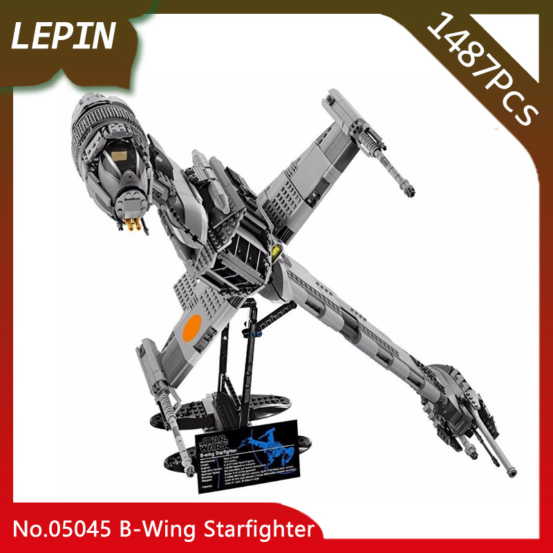 Lepin 05045 The B-Wing Starfighter Model Educational Star Space Wars 1487pcs Building Blocks Bricks Funny War Toys 10227 gift lepin 05040 y attack starfighter wing building block assembled brick star series war toys compatible with 10134 educational gift