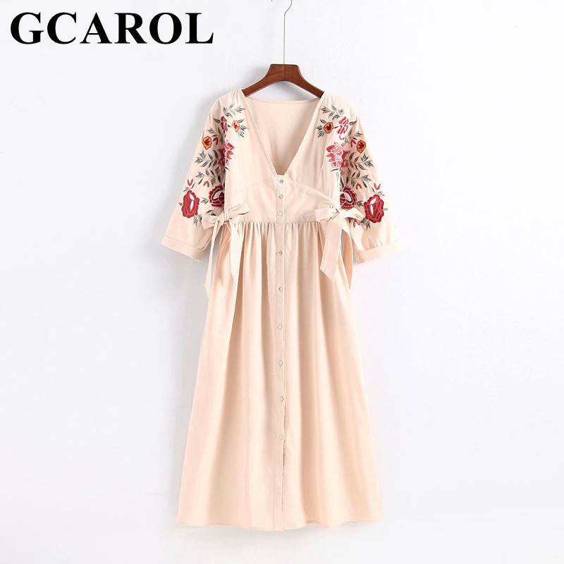 GCAROL 2018 New Collection Women V Neck Embroidery Floral Sleeve Dress A Line High Waisted Bowknot Vintage Long Dress