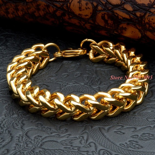 Mens stainless steel link chain bracelet gold color biker jewelry