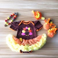 2016 del niño del bebé niñas niños Ruffles Tutu romper trajes de acción Turky mameluco con el collar y la venda y los zapatos