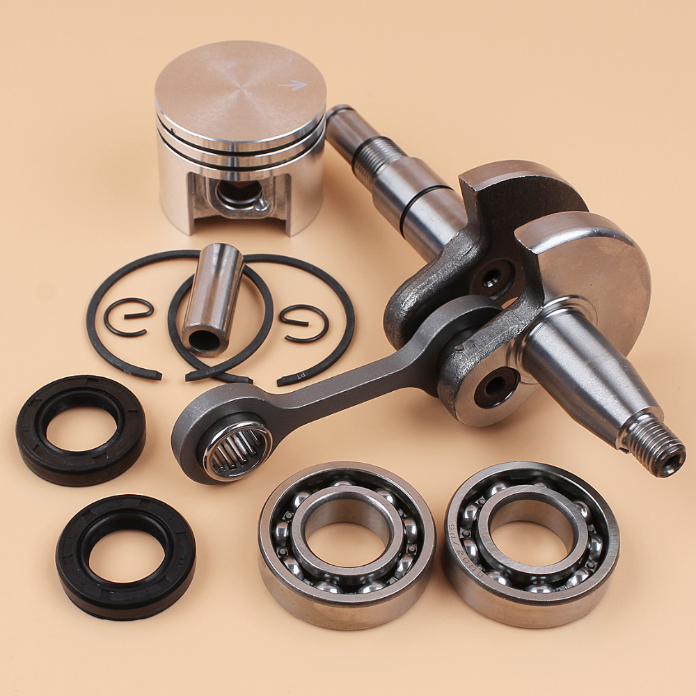 Crank Shaft Crankshaft & 38mm Piston Rings Oil Seal Beaing Kit For STIHL MS180 MS170 018 017 MS 180 170 Chainsaw Fit 10mm Pin new 38mm cylinder piston rings needle bearing kit for stihl ms180 ms 180 018 chainsaw 1130 020 1208