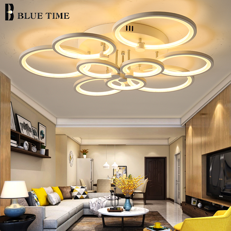 White&Black Finished Led Chandeliers Modern Ceiling Chandelier Lighting Fixtures For Living Room Bedroom Acrylic Lampara de tech
