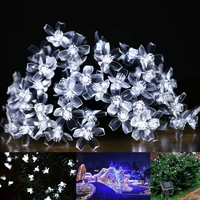 Solar Lamps 4 8M 20LEDs Flower Blossom Decorative Lights Waterproof White Fairy Garden Outdoor Christmas Solar