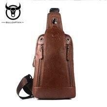 BULLCAPTAIN Genuine Leather Fashion Men Chest Bag Travel Crossbody Bags Cowhide Male Single Shoulder Bag Music Chest Pack