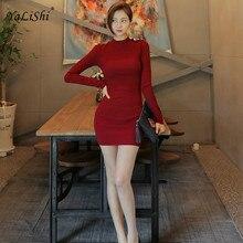Solid Plus Size Bodycon Bandage Dress Women Autumn Red Long Sleeve O-neck Knitting Vintage Mini Dress Sexy Club Dresses Vestidos цена