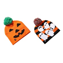 купить Halloween Glowing Hats for Child Adult Beanies Knitted Cute Hat Autumn Pumpkin Ghost Caps Warmer Casual Cap For Party Supplies по цене 286.42 рублей