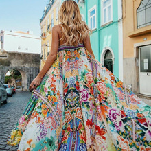 Women Off Shoulder Floral Print Boho Dress Fashion Beach Summer Dresses Ladies Long Maxi Dress Vestidos LF31-1826