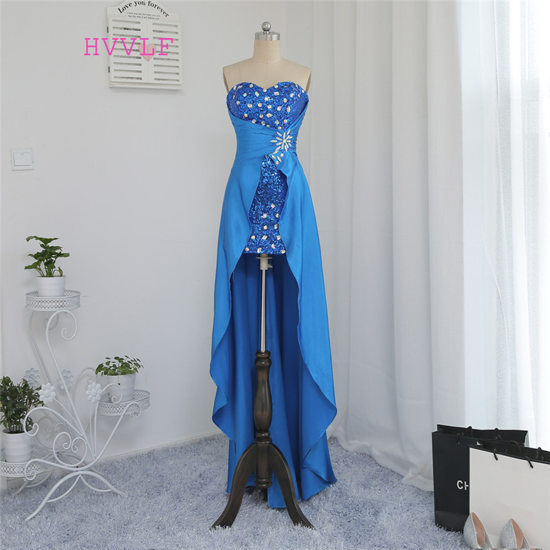 New Royal Blue 2019   Prom     Dresses   Sheath Sequins Crystals Hi Low Detachable Skirt   Prom   Gown Evening   Dresses   Evening Gown