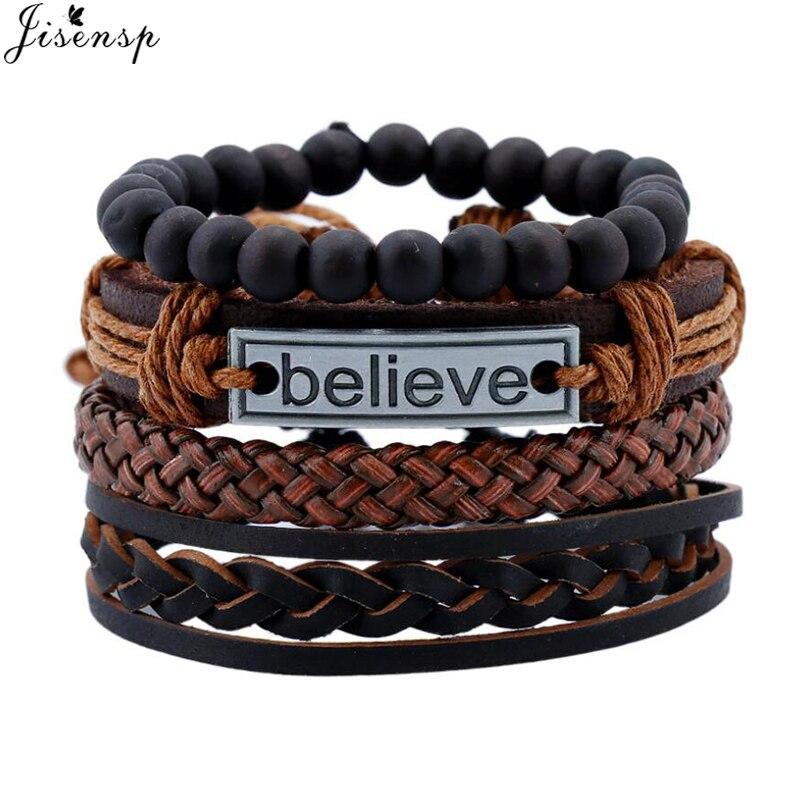 Jisensp Vintage Letter Multilayer Leather Bracelet Men Fashion Braided I Believe Rope Wrap Bracelets & Bangles Best Friend Gifts