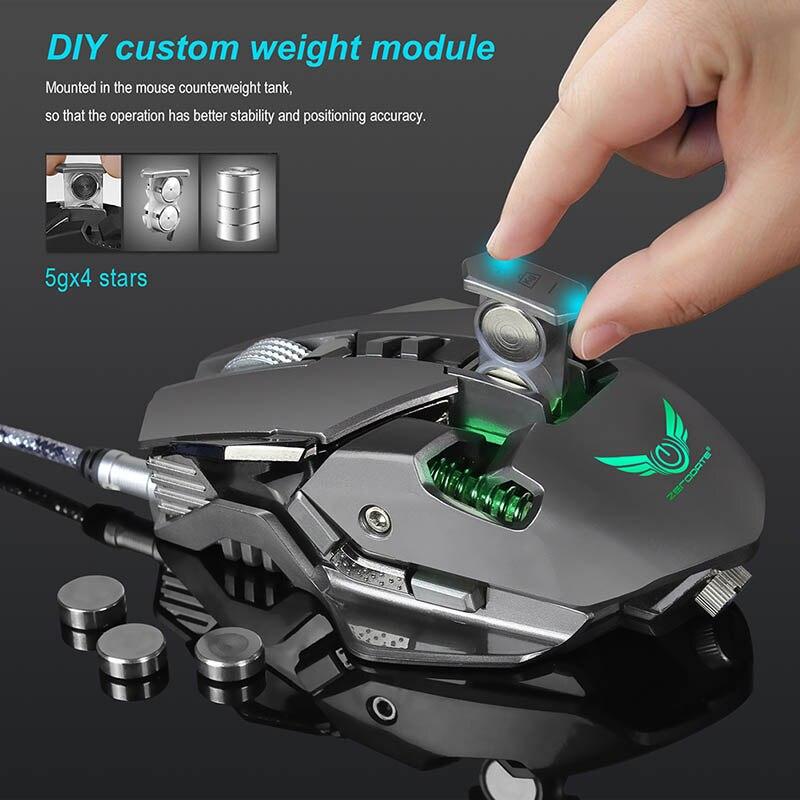 Meccanica Wired Gaming Mouse 600-3200 DPI Professionale 7 Tasti Mouse Ottico con Luce A LED per Gamer Computer portatile topi
