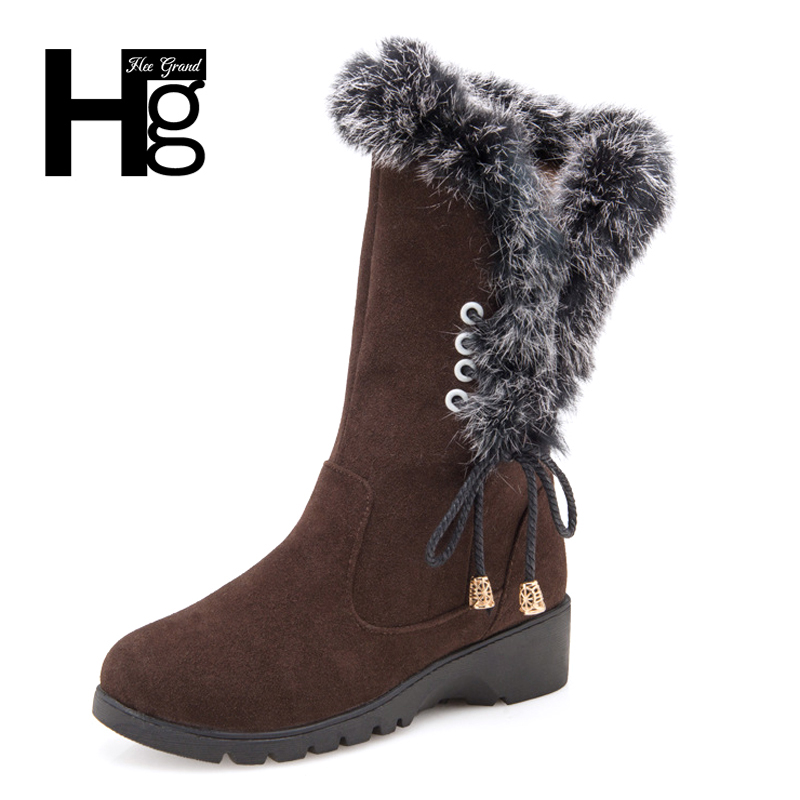 HEE GRAND Women Snow Boots High Quality Super Warm High Boot Plush Fur Warm Winter Lady Girl Black Brown Lace up Shoes XWX6207 yin qi shi man winter outdoor shoes hiking camping trip high top hiking boots cow leather durable female plush warm outdoor boot