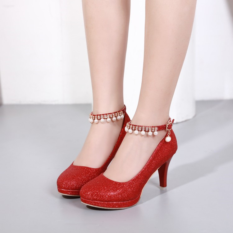 6da5886df3b US $24.85 29% OFF|PXELENA Red Gold Silver Bride Wedding Shoes Women  Sequined Bling Beads Pumps Lady Thin High Heels Shoes Dress 2018 Spring 34  43-in ...