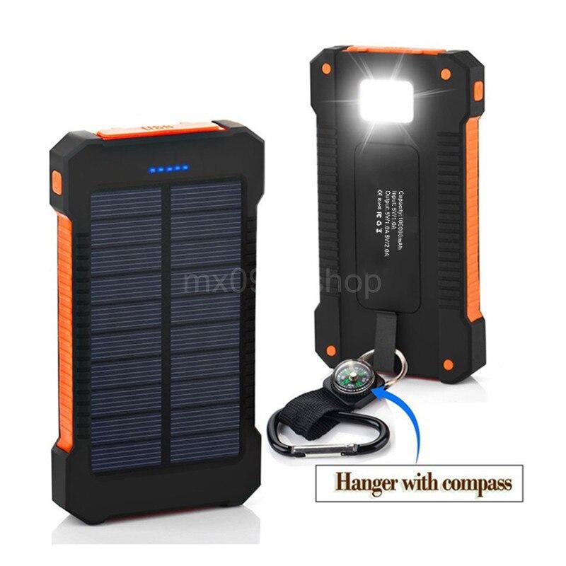 imágenes para Yfw cargador solar 10000 mah banco de la energía impermeable de la batería de carga usb dual con led linterna con brújula para teléfonos móviles