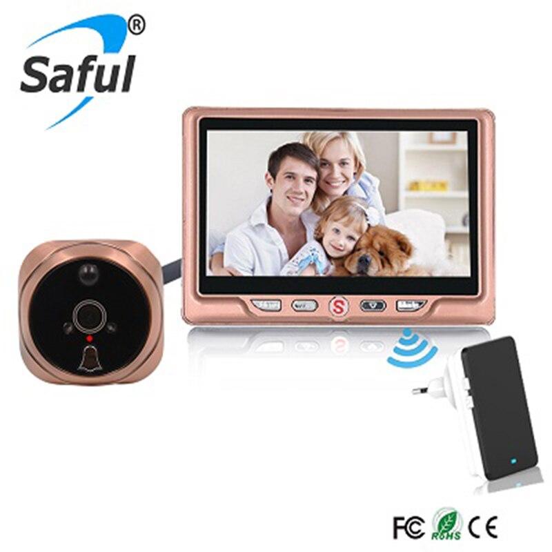 Saful Sans Fil 4.3 LCD Moniteur Visuel Numérique Sonnette Judas Spectateur Nuit Fonction Porte Caméra Accueil Sercurity Kit