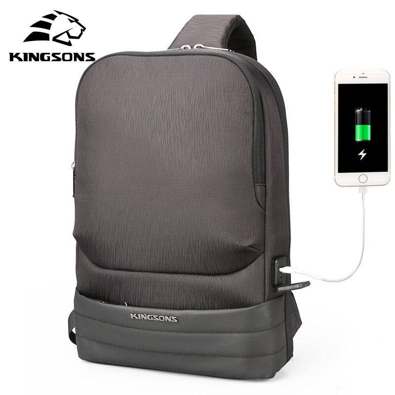 KINGSONS الرجال حقيبة صدر للرجال حقيبة رافعة عارضة قماش الصدر مكافحة سرقة أكياس Crossbody حقائب الكتف عالية الجودة الصدر حزم-في حقائيب الخصر من حقائب وأمتعة على  مجموعة 1
