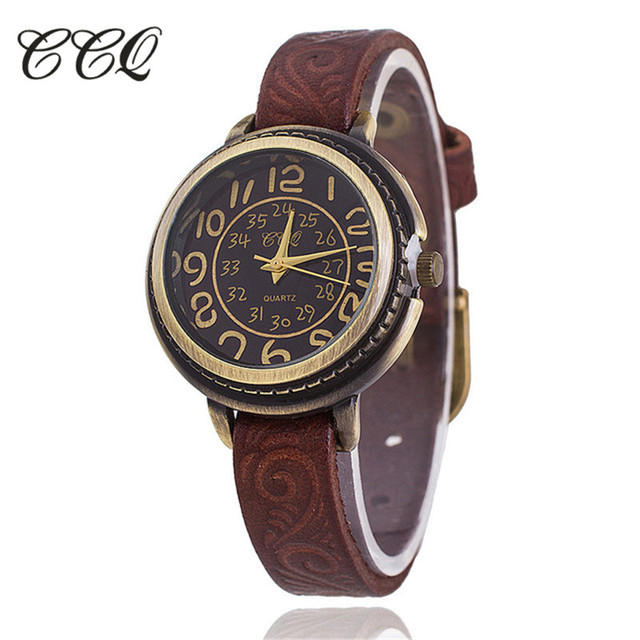 CCQ Brand Vintage Cow Leather Bracelet Watch Women Flower Engraved WristWatch Ca