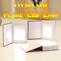 Novelty Night Lights Led Flame Effect Book Light USB Rechargeable LED Night Lamp Bed Room Decorative
