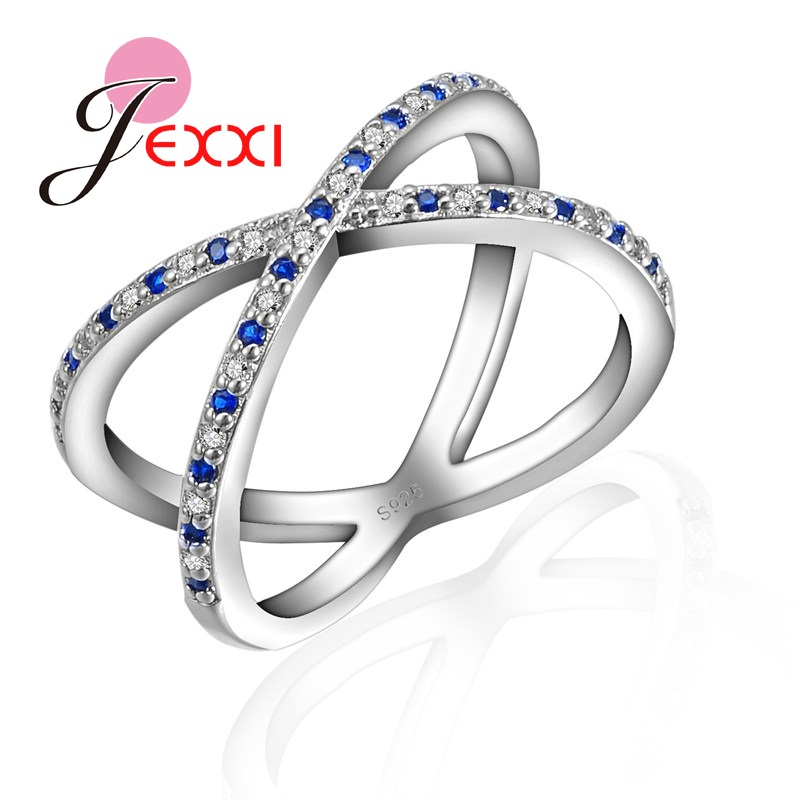 JEXXI New Arrival Female Full Cross Shaped Finger Ring Tiny CZ Blue Crystal Paved Fashion Jewelry Chic Hollow Rings For Women