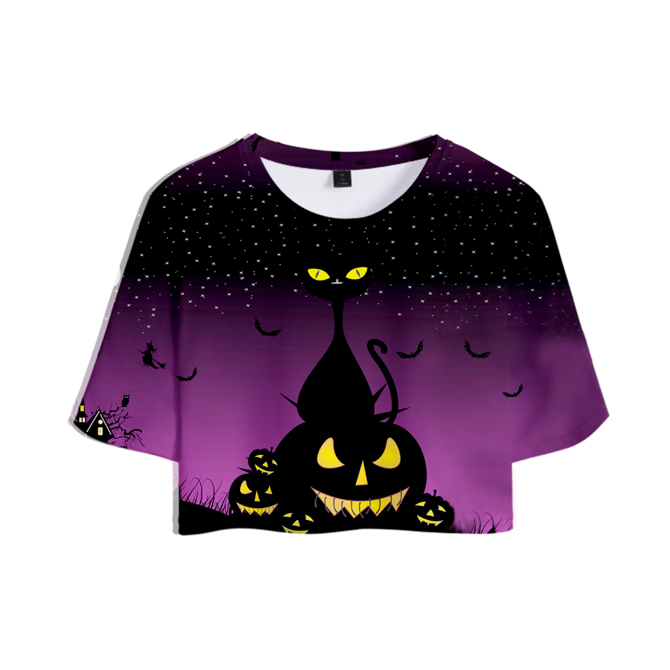 f6c545271 3D HALLOWEEN Pumpkin Ghost Scary Women's Summer Sexy Crop Tops T Shirts  Female Goth Exposed Navel T Shirt All Hallows' Day-in T-Shirts from Women's  Clothing ...