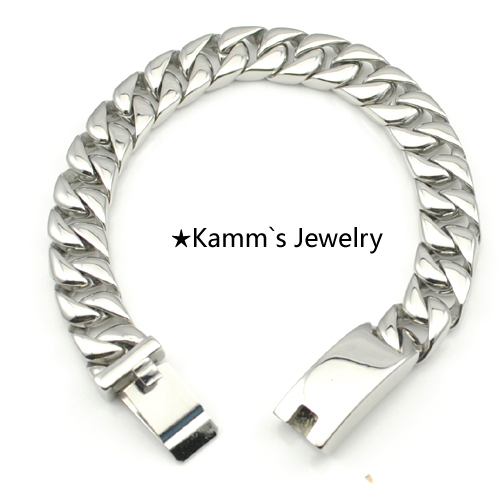 Quality 22cm*12mm Male Bracelet Stainless Steel Men Jewelry Chain Link Bracelet man pulseira masculina Bracelets & Bangles KB539