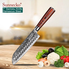 SUNNECKO 7 inch Santoku Knife Kitchen Chef Knives Japanese Damascus VG10 Steel Core 60HRC Blade Pakka Wood Handle Cutting Tools sunnecko 8 damascus bread knife japanese vg10 core steel sharp blade 59 60hrc strong hardness kitchen knives pakka wood handle