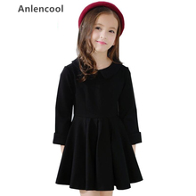 Anlencool children's Solid color dress 2018 autumn and winter new style dress Girls fashion high quality dress Baby clothing