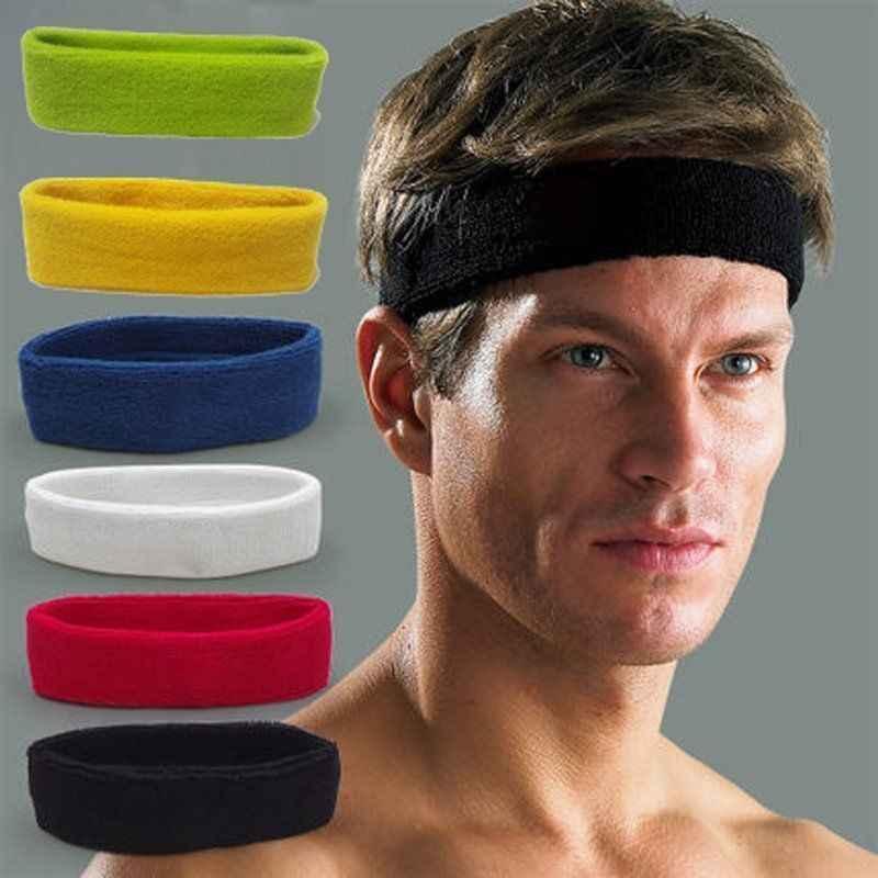 Los hombres de algodón de las mujeres deporte Sweat Sweatband diadema Yoga/gimnasio/elástico del pelo banda de la cabeza ajustable Bboy tapas al aire libre sol