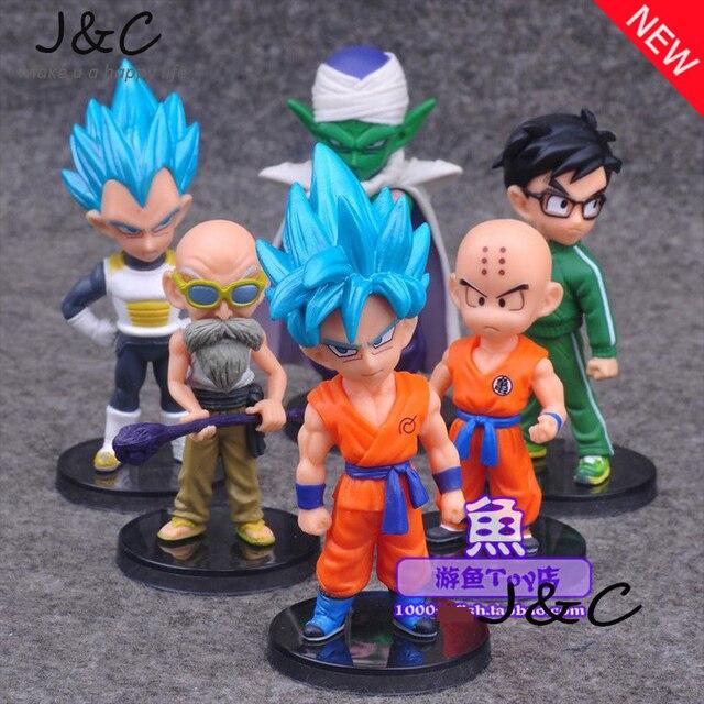 O Envio gratuito de 6 Pçs/lote Dragon Ball Figuras de Ação Brinquedos 10 cm PVC Figuras de Ação PVC Boneca Modelo Brinquedos